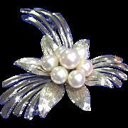 Large Elegant Sterling Silver Cultured Pearl Brooch/Pin