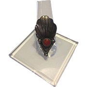 Native American Coral on Sterling Silver Ring