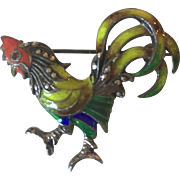 Rooster Enamel Marcasite Germany Sterling Silver Pin/Brooch (Alice Caviness)