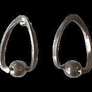 Modernist Geometric Hoop Silver Earrings