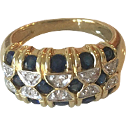 Modern Vintage 14k Yellow Gold Sapphires Diamonds Band Ring