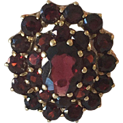 European Bohemian Garnet Stone Cocktail 14k Yellow Gold Ring