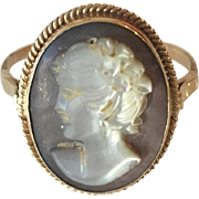 14k Yellow Gold 'Mother Of The Pearl' Abalone Cameo Vintage Ring