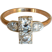 Art Deco Vintage 14K Yellow Gold Diamond Engagement Ring