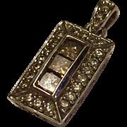 Lovely 14K White Gold Champagne & Clear Diamond Pendant