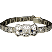 Stunning Art Deco 14K Filigree White Gold Diamonds and Sapphires Bracelet