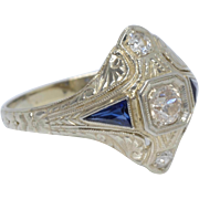 Dazzling Art Deco 18K White Gold Sapphires and Diamonds Engagement/Cocktail Ring