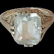 Art Deco 18K White Gold Aquamarine Filigree Ring