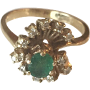 Gorgeous 14K Yellow Gold Green Emerald and Diamonds Ring