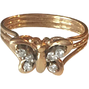 14K Yellow Gold Diamonds Butterfly Ring