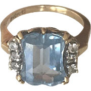 Stunning 10K Yellow Gold Blue Topaz Diamond Ring
