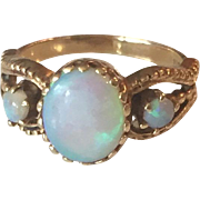 14K Yellow Gold Blue Opal 1940s Ring