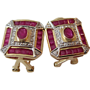 Dazzling 14K Yellow Gold Rubies and Diamonds Pierced Earrings