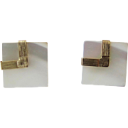Elegant 14K Yellow Gold Square Mother of Pearl Stud Earrings