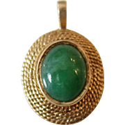 Elegant 14K Yellow Gold Green Jade Pendant