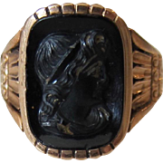 Antique Victorian 10K Yellow Gold Black Onyx Cameo Soldier Ring