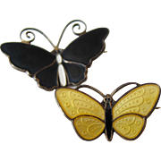 Pair of Sterling Silver Black and Yellow Enamel Butterfly Brooch/Pins by David Anderson-Norway