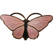 Sterling Silver Pink Enamel Butterfly Brooch/Pin Made by David Anderson, Norway