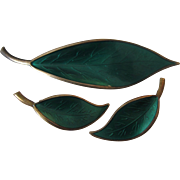Leaf Green Enamel Gilt Norway Sterling Silver Brooch and Clip Earrings Set by David Anderson