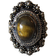 Sterling Silver 'Poison Ring' with Tiger Eye Stone, Mexico