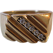 10K Yellow Gold Men's Diamond Signet/Ring