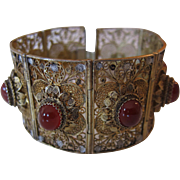 Vintage Filigree Quilt 800 Silver and Cornelian Bracelet