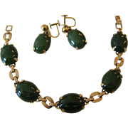 Gorgeous 14K Yellow Gold and Spinach Jade Bracelet and Earrings Set