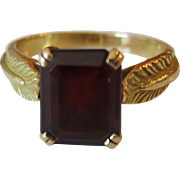 Stunning 18K Yellow Gold Emerald Cut Garnet Ring