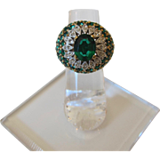 Gorgeous Vermeil Sterling Silver Green and Clear Rhinestones Statement Ring