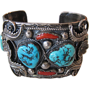 Sterling Silver Native American Turquoise and Cora Massive Cuff Bracelet