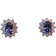Gorgeous 14 K White Gold Tanzanite and Diamond Stud Earrings