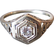 14K White Gold Filigree Hexagon Art Deco Diamond Engagement Ring