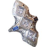 18K White Gold Art Deco Filigree Diamond and Sapphire Ring