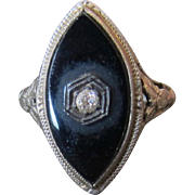 14K White Gold Marquise Onyx and Diamond Vintage Ring