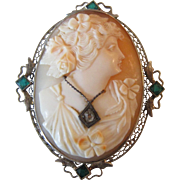 Vintage Filigree 14K White Gold Emerald Diamond Cameo Pin / Pendant