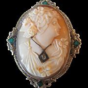Vintage Filigree 14K White Gold Emerald Diamond Cameo Pin / Pendant