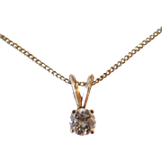 Classic 14K Yellow Gold Diamond Pendant