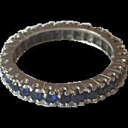 14K White Gold Blue Sapphire Eternity Band/Wedding Ring