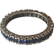 14K White Gold Blue Sapphire Eternity Band/Wedding Ring