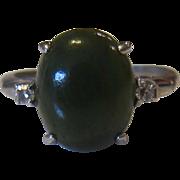 10K White Gold Jadeite Diamond Ring