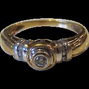 Beautiful 10K White and Yellow Gold Diamond Engagement Ring