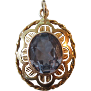 14K Yellow Gold Blue Topaz Filigree Pendant
