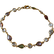 Vintage Italian 18K Yellow Gold and Garnets, Amethysts, Peridots Bracelet