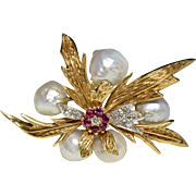 Natural Baroque Pearls Diamonds and Rubies Flower 18 K Yellow Gold Brooch/Pin