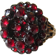 Antique Garnet 10K Yellow Gold Cluster Ring