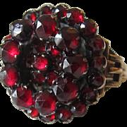 Antique Garnet 10K Yellow Gold Cluster Ring