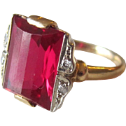 Stunning 14K Yellow Gold Diamond and Ruby Ring