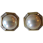 Amazing 14K Yellow Gold Diamond and Cultured Pearl Clip-On Earrings