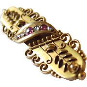 Elegant Georgian 15K Yellow Gold Rubies and Diamond Brooch/Pin