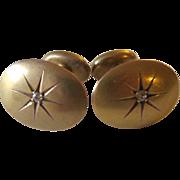 10K Yellow Gold Diamond Cufflinks
